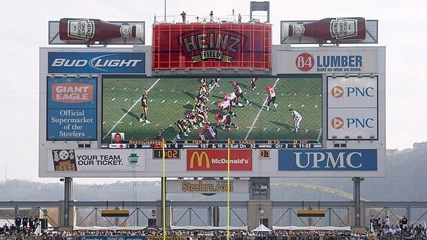 The scoreboard at Heinz Field, which could feature behind-the-scenes video for fans attending games in 2013.
