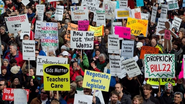 B.C. teachers hold a rally during a province-wide walkout in Vancouver in March. Figures from Statistics Canada suggest the labour movement in Canada is in a 30-year decline.