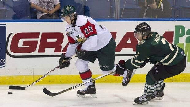Halifax Mooseheads centre Nathan MacKinnon takes the puck past London Knights defenceman Olli Maatta during Tuesday's game. The Mooseheads have advanced to Sunday night's final.