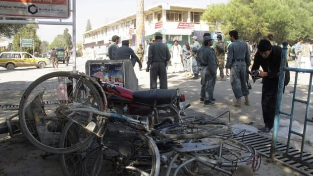 NATO spokesman Maj. Adam Wojack would only confirm that three NATO service members and their translator died in a bombing. Six Afghan civilians and four police officers were also killed.
