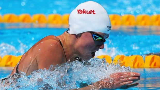 Canadian Martha McCabe competes during the Swimming Women's 200m Breaststroke preliminaries heat two on day thirteen of the 15th FINA World Championships at Palau Sant Jordi on Thursday in Barcelona, Spain. McCabe advanced to the final.