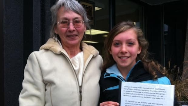 Neave Allen with her grandmother Huguette Allen, who is a member of the Green Party and ran as a candidate in the North Okanagan.