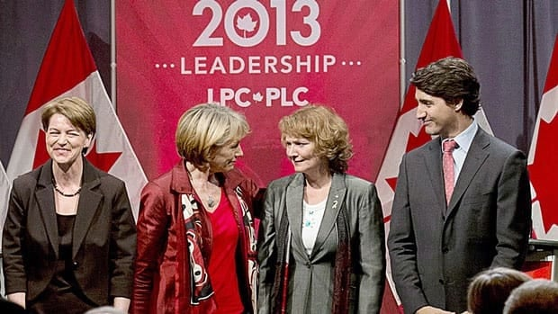 Liberal leadership candidates, from left, Martha Hall Findlay, Joyce Murray, Karen McCrimmon and Justin Trudeau. Not pictured are Deborah Coyne and Martin Cauchon.