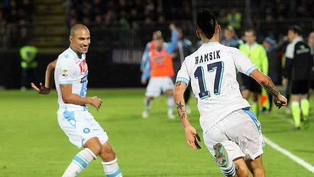 Marek Hamisk of Napoli celebrates his goal during Monday's match at Stadio Sant'Elia in Cagliari.