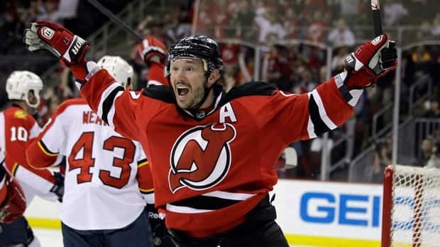 New Jersey Devils' Ilya Kovalchuk celebrates after scoring a goal against the Florida Panthers during the second period.