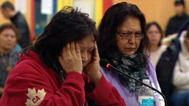 Residential school survivors testify at a Truth and Reconciliation Commission hearing in Fort Simpson, N.W.T.