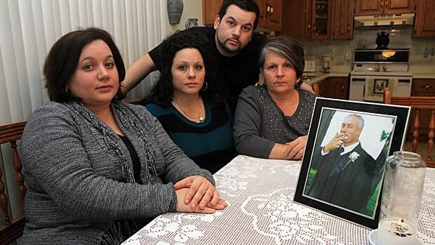 Two years later, the Stinellis family - Evelina, Daniela, Donato and Grace - still struggle to make sense of his death. Luigi Stinellis was a flag man on a construction site when he was hit by a van driven by a man who has been charged with impaired driving causing death. (Samantha Craggs/CBC)