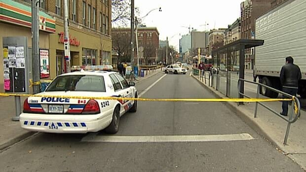 Toronto police say a man was stabbed repeatedly during a physical altercation that occurred outside a Tim Hortons restaurant on Saturday, Dec. 15, 2012.