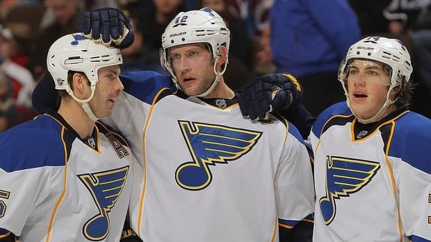 """As defenceman Barret Jackman, left, participates in informal workouts with his Blues teammates, he says """"it's tough to sit by and watch hockey take the beating it is, but hopefully this isn't a long-term thing and we'll get going."""""""