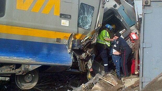 Three Via crew members died when a passenger train derailed near Burlington, Ont., in February 2012.