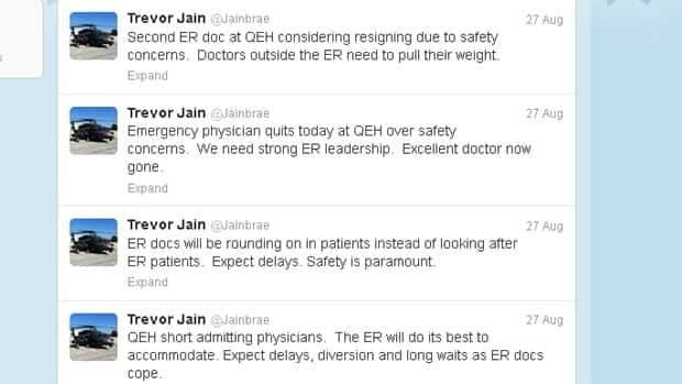 Dr. Trevor Jain tweeted that one ER physician had resigned and another was considering leaving.
