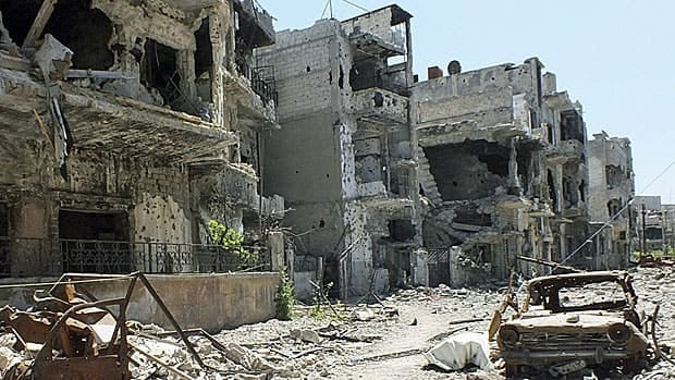 A bombed-out street in Homs, the scene of fierce fighting between government and rebel forces, and typical of several of Syria's larger cities. Photo taken April 28.
