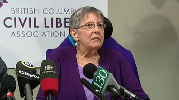 The federal government says it will try to block Gloria Taylor of West Kelowna, B.C., from seeking assistance to end her life. Taylor suffers from ALS, also known as Lou Gehrig's disease.