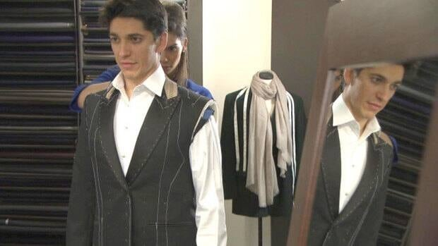 Actor-filmmaker Yan England, an Oscar nominee for his live action short film Henry, is fitted for a tuxedo in Montreal on Thursday.