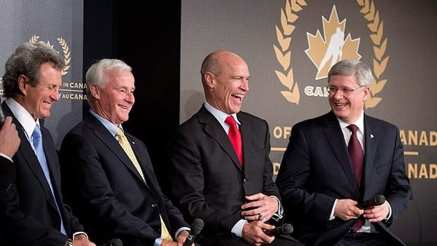 Canadian Prime Minister Stephen Harper(right to left), Mark Messier, Dave King and Paul Henderson share a laugh during the Order of Hockey ceremony in Ottawa on Monday.