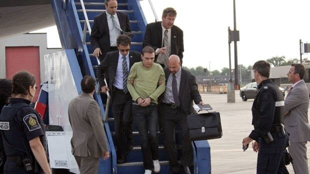 Luka Rocco Magnotta returned to Canada via military transport from Germany, where he was arrested this month.