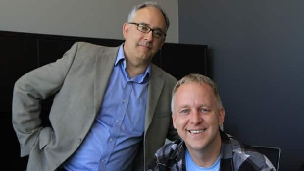 Ron Neumann (seated) left the innovation Factory in June to work on VistaShift, a start-up about six years in the making. Neumann is pictured with his iF successor, David Carter.