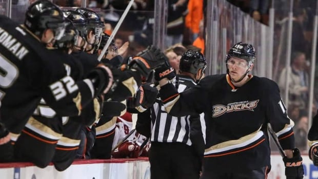 Anaheim Ducks winger Corey Perry, right, has scored nine goals and 24 points in 25 games this season.