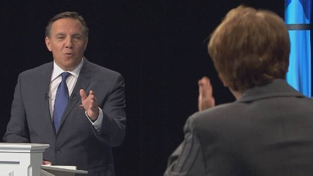 CAQ Leader François Legault faces off against PQ Leader Pauline Marois in Sunday's Quebec leaders' debate.