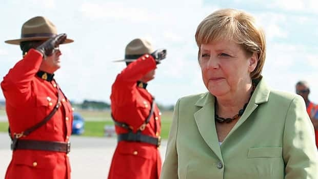 German Chancellor Angela Merkel as she arrives in Ottawa, Wednesday where she will attend ceremonies on Parliament Hill and private talks with Prime Minister Stephen Harper.