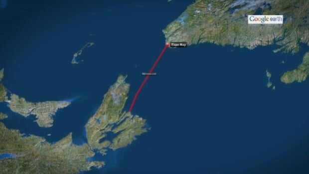The proposed path of the 180-kilometre subsea cable Maritime Link cable, between Nova Scotia and Newfoundland.