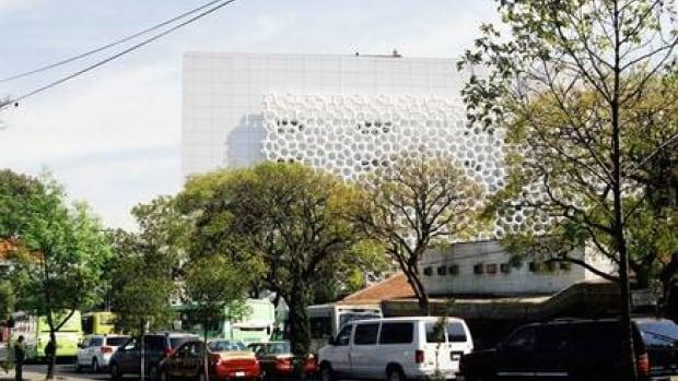 The prosolve370e smog-absorbing tile on the Torre de Especialidaes in Mexico City.