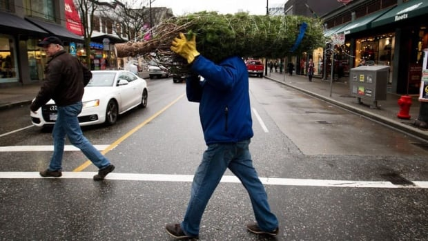 Ken Rafuse crosses Robson St. as he carries a Christmas tree to his home in downtown Vancouver, B.C., earlier this month. Environment Canada climatologist David Phillips says the chances of snowfall for the holidays this season are very bleak.