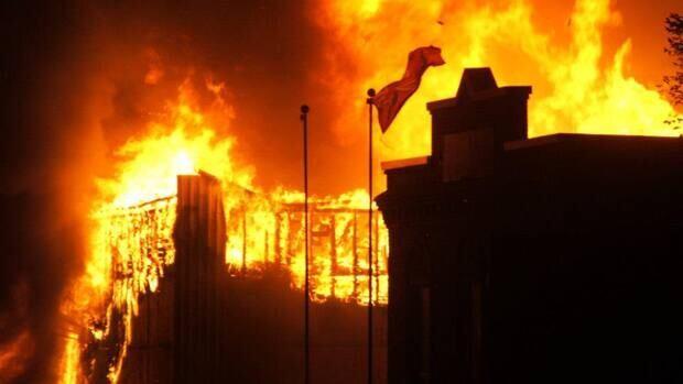 Fire rips through the Tru Hardware store in Virden, Man., on Sunday.
