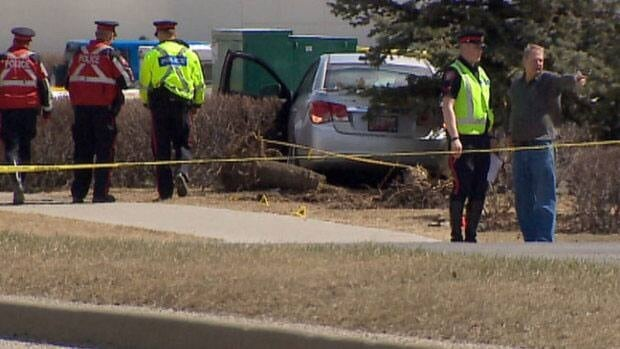 A two-year-old girl died a few days after this car struck her in an intersection in southwest Calgary last week.