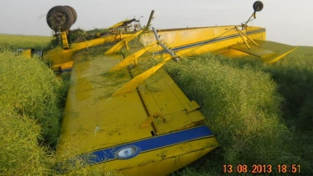 The plane finished upside down in a canola field.