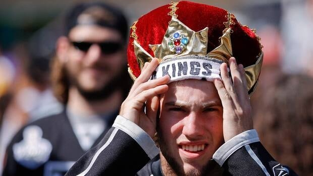 This Los Angeles Kings fan may have had fun in this file photo from last year's Stanley Cup run, but he won't be dressing up for NHL games anytime soon.