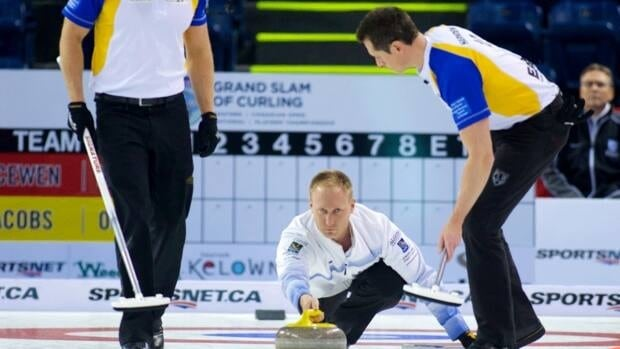 Brad Jacobs, of Sault Ste. Marie, Ont., throws a stone during his semi-final match against Winnipeg's Mike McEwen on Saturday, Dec.15, 2012.