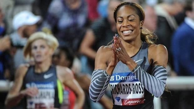Sanya Richards-Ross of the U.S. reacts after winning the 400-metre event at the Stockholm Samsung Diamond League event on Friday.