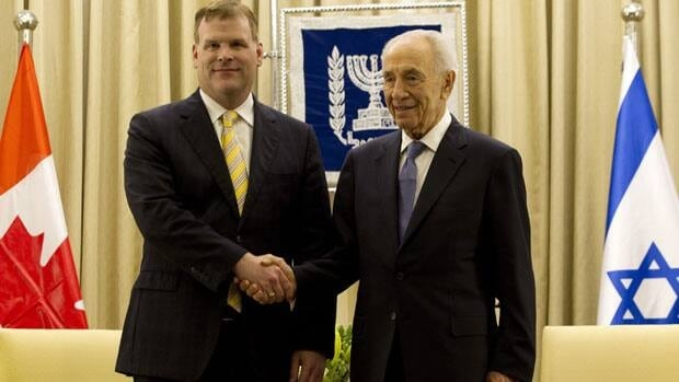 Canadian Foreign Affairs Minister John Baird, left, met with Israeli President Shimon Peres in Jerusalem last Tuesday, during a Mideast tour that has stirred controversy over Baird's visit with Israel's justice minister in East Jerusalem.