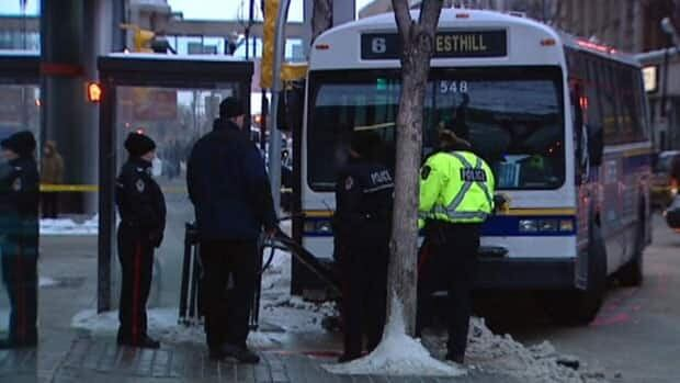 A Regina bus veered off the road and knocked down a pole that struck Barbara Supynuk who was waiting at a bus stop.