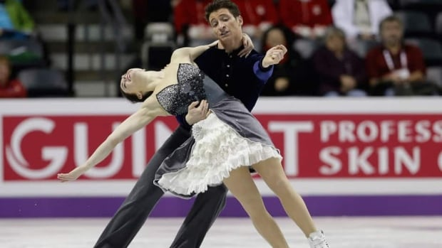 Tessa Virtue and Scott Moir, of Canada, perform during a practice session for the World Figure Skating Championships Tuesday in London, Ont.