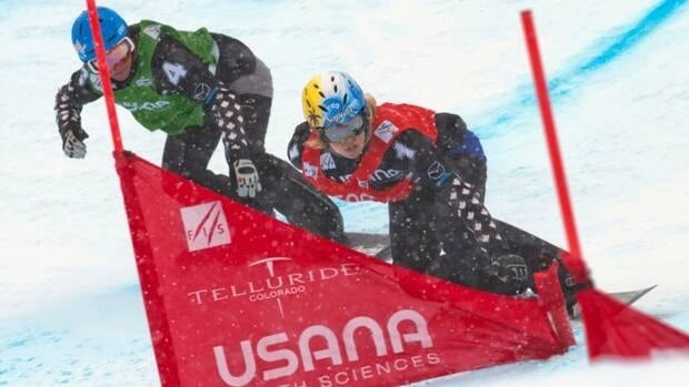 Dominique Maltais, right, of Canada, defeated teammate Maelle Ricker, left, in the women's snowboard cross event at Telluride, Colo., on Friday. Maltais captured gold while Ricker took silver.