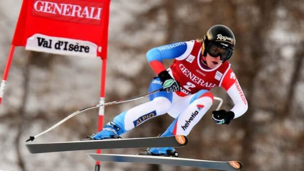 Lara Gut of Switzerland skis to victory in the women's downhill at Val d'Isere, France, on Friday.