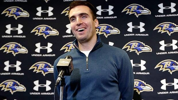Joe Flacco is all smiles Monday meeting with the media in Baltimore after inking his new deal.