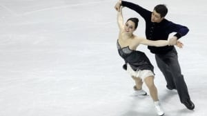 Tessa Virtue and Scott Moir of Canada perform during the short dance at the world figure skating championships Thursday in London, Ont.