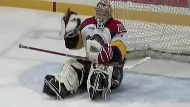 Connor Crisp, captured in a video still from Sunday's game, finished with 32 saves for Erie.