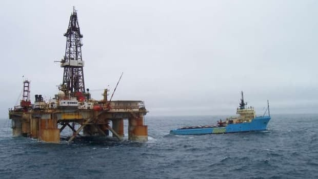 The drilling rig GSF Grand Banks, shown in a file photo, had been working at the White Rose oilfield south of St. John's and was bound for Mississippi under tow when the line broke south of Newfoundland last week.