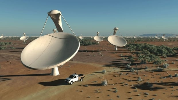 An artist's impression of what some of the Square Kilometre Array telescope dishes will look like. The giant radio telescope will cover one million square metres of sky with the help of 3,000 parabolic antennas, or dishes, spread across thousands of kilometres.