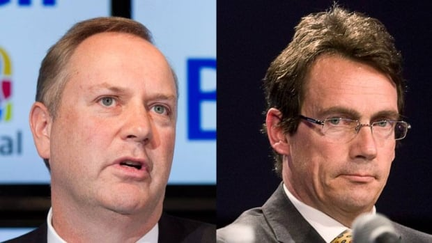 BCE Inc. chief exec George Cope, left, is stewarding his company's takeover of Astral Media, which Quebecor CEO Pierre Karl Péladeau opposes.