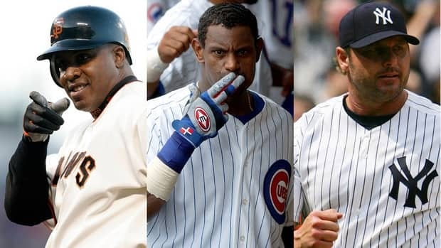 Your first-time-on-the-ballot 2012 Hall of Fame candidates, from left to right, Barry Bonds, Sammy Sosa, and Roger Clemens.
