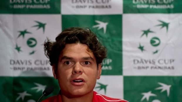 Canada's Milos Raonic addresses a news conference prior to this week's Davis Cup match against Spain, in Vancouver on Tuesday.