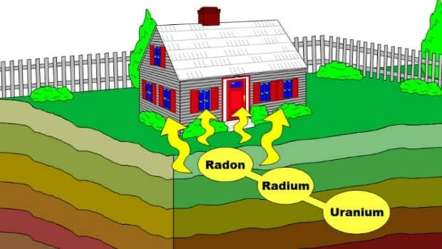 Radon gas, a radioactive element, seeps into the home from the surrounding rock and soil.