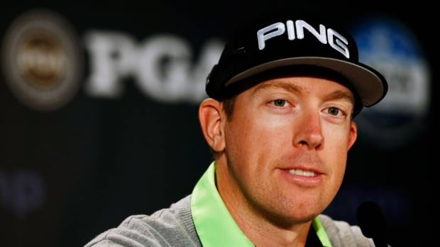 Hunter Mahan during a press conference prior to the start of the PGA Championship at Oak Hill Country Club on August 6, 2013 in Rochester, New York.