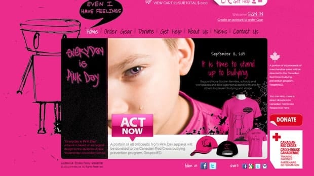 The website offers help and raises money for anti-bullying programs.