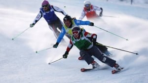 Canada's Kelsey Serwa, front, won the women's ski cross event in Innichen-San Candido, Italy on Sunday.